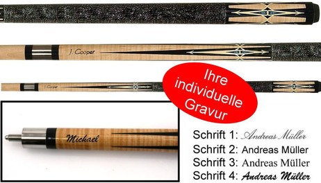 Pool cue J. Cooper Pool billiard cue with engraving, great gift idea