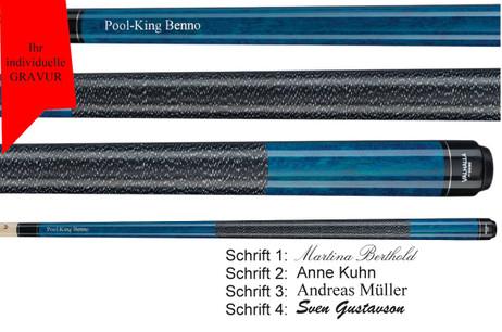 VA113 Blue Stain Pool Billard cue, Valhalla by Viking, with engraving