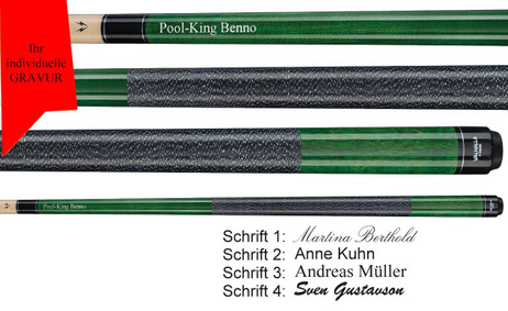 VA115 Green Pool Billard Queue, Valhalla by Viking mit Gravur, Geschenk Idee