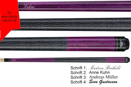 VA117 Purple lila Pool Billard Queue Valhalla by Viking mit Gravur Geschenk Idee
