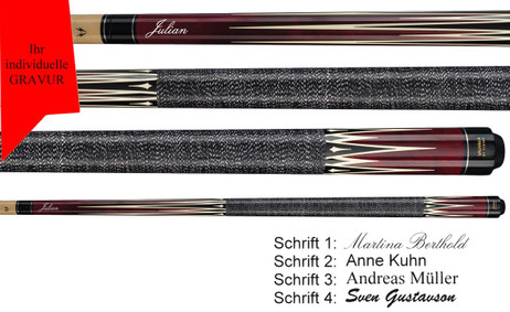 VA303 Red Pool Billard Queue, Valhalla by Viking mit Gravur, Geschenk Idee