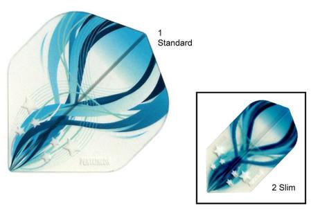 Pentathlon Flights Clear Edition Motiv 2 Techno blue, Dart Flights, 3er Set