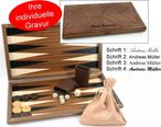 Dal Negro Nuova Noce, noble walnut backgammon with engraving, gift - idea