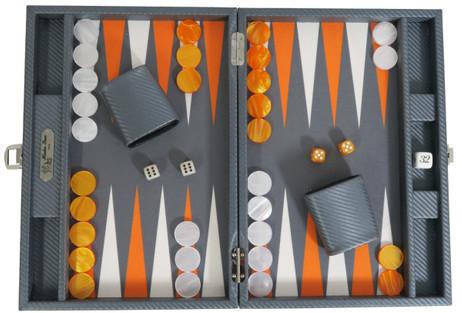 Backgammon CARBONE B21L Anthracite Medium, Alcantara Feld, Hector Saxe, Paris