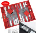 Backgammon BUFFALO B20L Rot Medium Hector Saxe Paris mit Gravur, Geschenk Idee