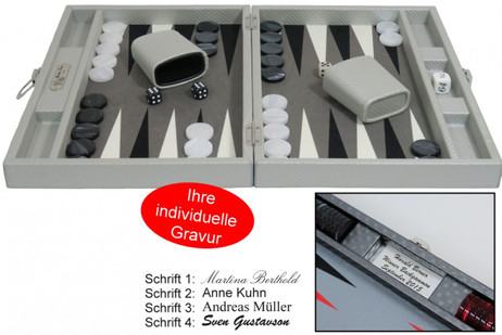 Backgammon CARBONE B21L Gris Medium Hector Saxe Paris mit Gravur, Geschenk Idee