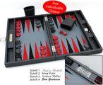 Backgammon COSMOS B49L Grau Medium Hector Saxe Paris mit Gravur, Geschenk Idee