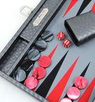 Backgammon COSMOS B49L Grau Medium Hector Saxe Paris mit Gravur, Geschenk Idee Bild 2