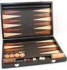 Backgammon Milos medium 1163, from Philos with inlaid work, black lacquered Image 1