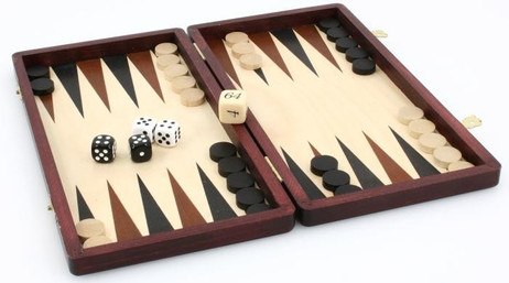 Backgammon Kassette, massiv Holz
