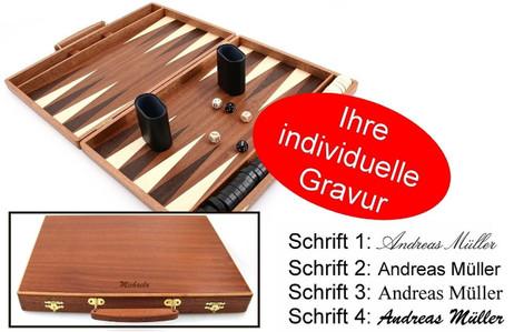Edelholz Backgammon Koffer Mahagoni - Weible mit Gravur, Geschenk - Idee