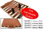 Engraved Precious wood backgammon case mahagany - Weible - idea for gift