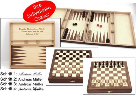 Schach - Backgammon - Dame 10x10 Kassette mit Intarsien mit Gravur Geschenk Idee