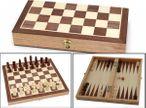 Schach - Backgammon Kassette, Spiel mit Intarsien Spielfeldern