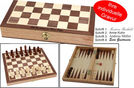 Chess - Backgammon cassette game with individual engraving, gift - idea