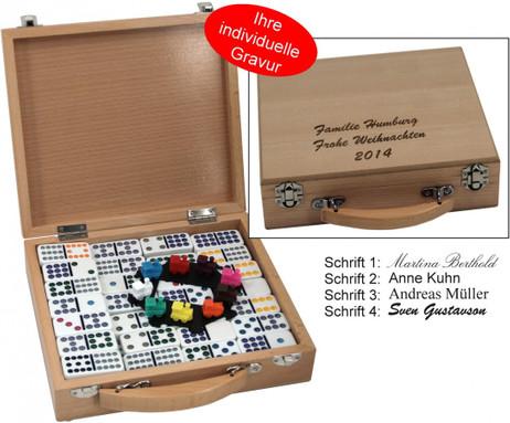 Mexican Train Domino 12 mit hochwertigem Holz Koffer mit Gravur, Geschenk - Idee