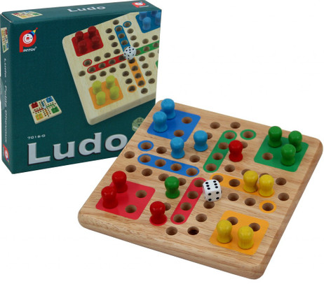 Mini Ludo, high quality solid wood version from Pintoy