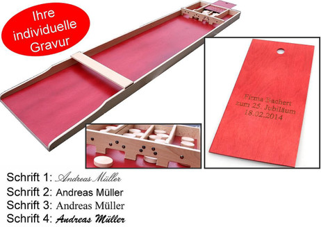 SJOELBAK S-40 original Dutch Shuffleboard mit Gravur, tolle Geschenk - Idee