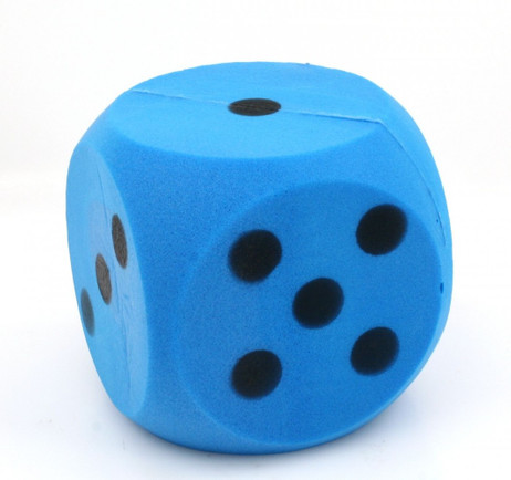 Giant blue foam dice, dice with 15 cm edge