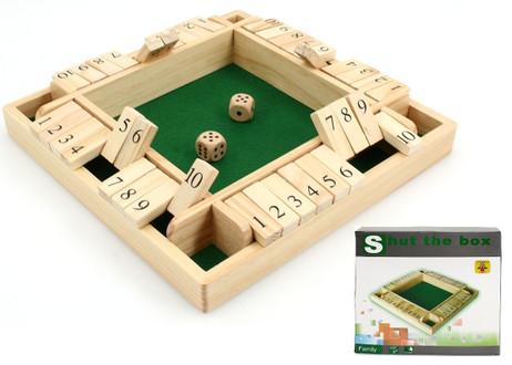 SHUT THE BOX für 4 Spieler, 10-er Variante 1 -10, Klappenspiel