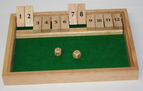 SHUT THE BOX, 12-shut variation, 1 - 12, dice game