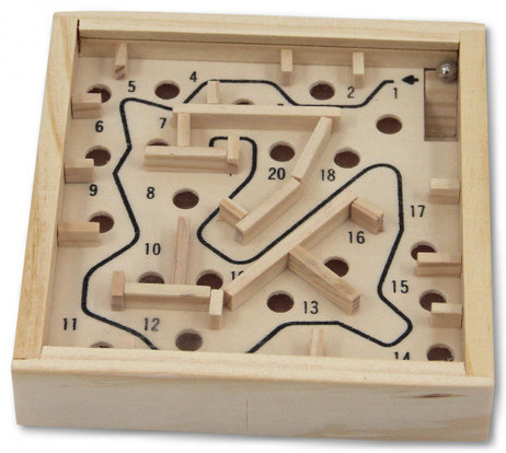 Mini Labyrinth, Geduldsspiel - Geschicklichkeitsspiel aus Holz