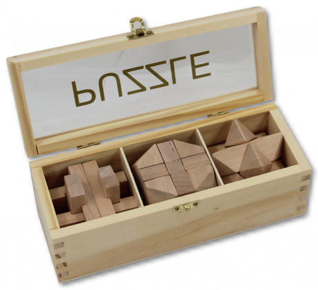 IQ Puzzle wood, 3 different wood puzzle with wooden box