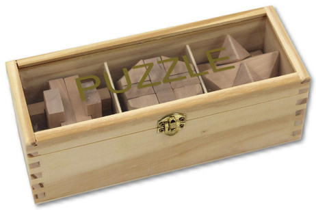 Iq Puzzle Wood 3 Different Wood Puzzle With Wooden Box