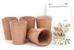 Ludomax 325132 Bundle 5 Dice cup with 6 dice each, Leather, 9cm nature