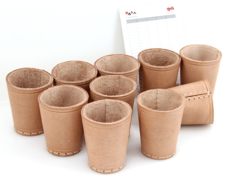 Ludomax 325134 10 piece of Dice cup, Leather, 9cm nature