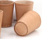 Ludomax 325134 10 piece of Dice cup, Leather, 9cm nature Image 2