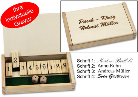 Mini Shut the Box, 9-shut variation, 1 - 9, dice game incl. Engraving