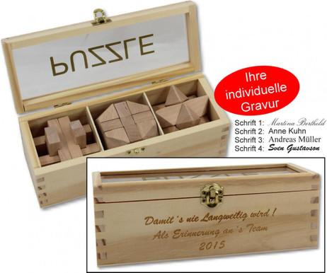 IQ Geduldsspiel aus Holz, 3 Holzpuzze mit Holzbox, Geschenk Idee mit Gravur