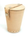 dice cup with lid and dice, genuine leather, sewn, approx. 9cm high, natural Image 2