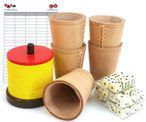 Shock set with shock cutlery, 5 dice cups, dice and game block
