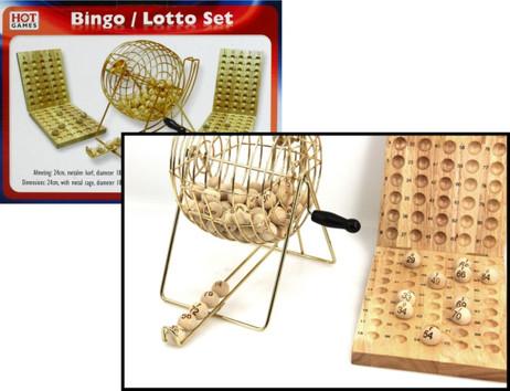 Bingo / Lotto Deluxe Set mit 20 cm Metall - Trommel, Kugeln und Kugelablage