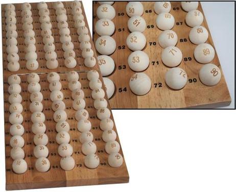 90 Lotto / Bingo Bälle Holz (ohne Ballablage)