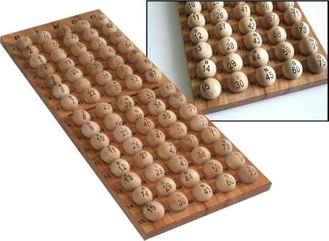75 Bingo Bälle aus Holz - nummeriert (ohne Ballablage)