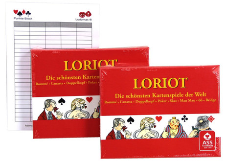 2 pieces Loriot playing cards Loriot illustrations Rummy + Ludomax writing pad