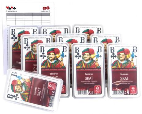 SENIOREN SKAT ASS Qualität Spielkarten Zehnerpaket ASS im Set mit Ludomax Block