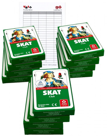 12 pieces of SKAT CLUB, german picture + Ludomax writing pad