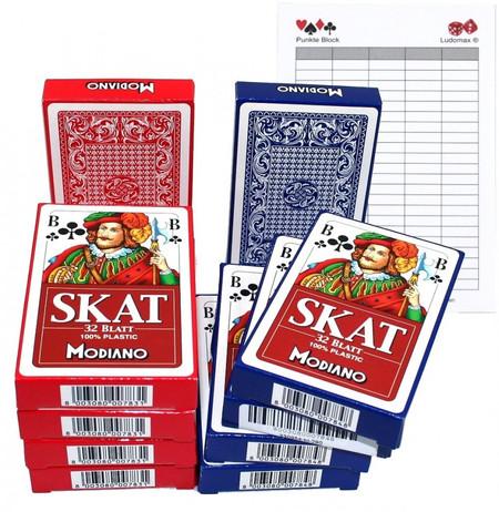 SKAT Plastic, 100% Plastik 10x Spielkarten von Modiano im Set mit Ludomax Block