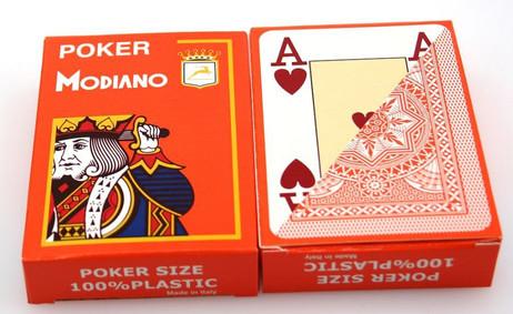 Zweierpaket Poker von Modiano, 100% plastic, 4 Jumbo Index, Farbe orange