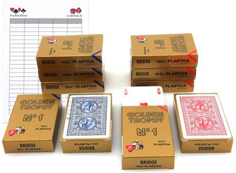 Zehnerpaket Golden Trophy No.1 von Modiano, 100 % plastic Spielkarten