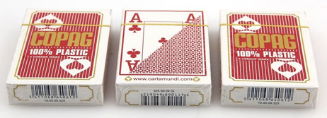 3 pieces of Copag 100% Plastic Poker 4 Corner Jumbo Index playing cards red