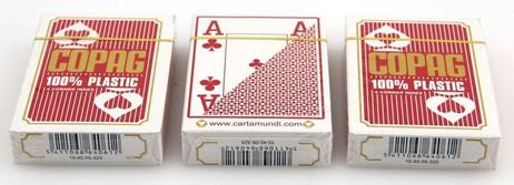 Dreierpaket Copag 100% Plastic Poker 4 Corner Jumbo Index Spielkarten rot