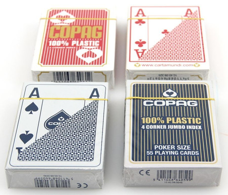 4 pieces of Copag 100% Plastic Poker 4 Corner Jumbo Index playing cards red/blue