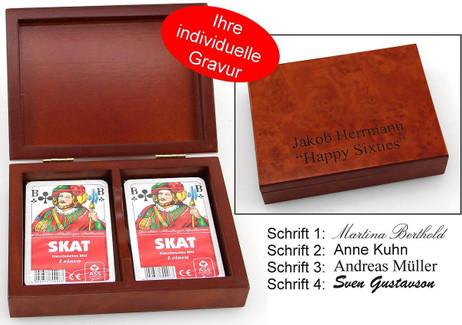 Holz Spielkartenkassette Skat mit individueller Gravur, Geschenk für Skatspieler