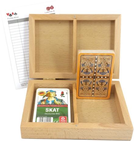 Skatbox Kornblume, deutsches Bild, Kassette mit zwei Skat Kartenspielen