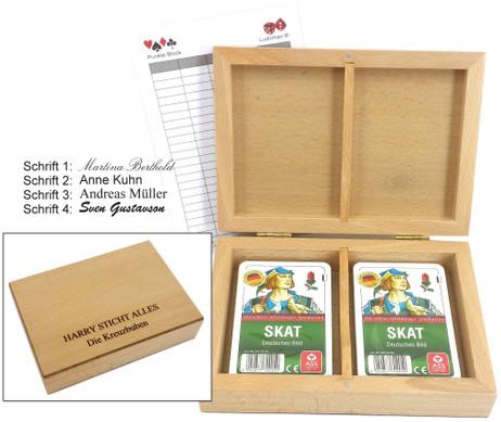 Skatbox Kornblume, deutsches Bild, Kassette mit individueller Gravur, inkl. zwei Skatspiele